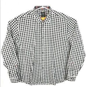 Au Noir Button Up Checker Dress Shirt Floral Cuff